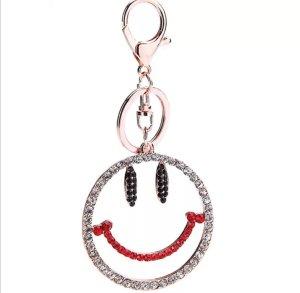 Schlüssel-/Taschenanhänger cooler glitzer Smiley mit Strass  NEU durchsichtig