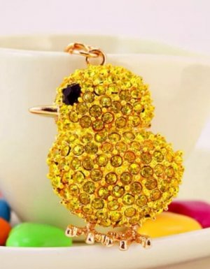 Schlüssel-/Taschenanhänger Kücken gelb, gold, Strass NEU