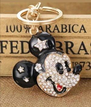 Schlüssel-/Taschenanhänger Maus, Mickey Mouse aus Metall, Strass, schwarz/weiß/gold NEU