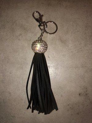 Schlüssel/Taschenanhänger mit Strasssteinen und Leder NEU
