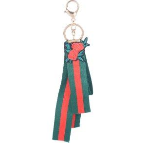 Schlüssel- /Taschenanhänger schickes Band aus Stoff mit Rose NEU