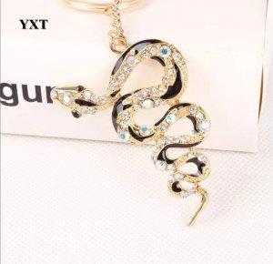 Schlüssel- / Taschenanhänger Schlange mit Strass, schwarz gold NEU