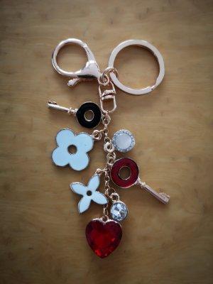 Schlüssel-/Taschenanhänger Schlüssel, Blumen, rot, weiß, gold, Strass NEU