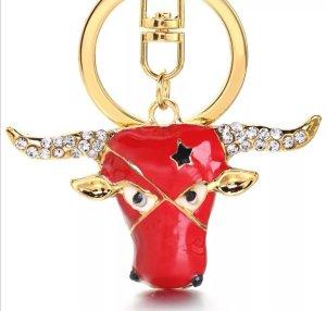 Schlüssel- /Taschenanhänger Torro Stier rot gold Strass Metall *NEU*