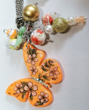 handmade Sleutelhanger licht Oranje-oranje