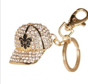Schlüsselanhänger Basecap Gold glitzer Strass NEU