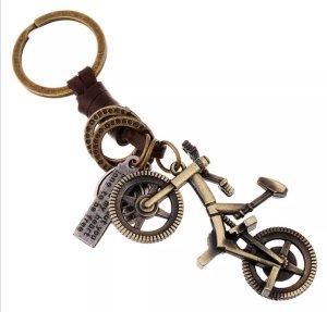 Schlüsselanhänger Fahrrad aus Metall (messingfarben) und Leder *NEU*