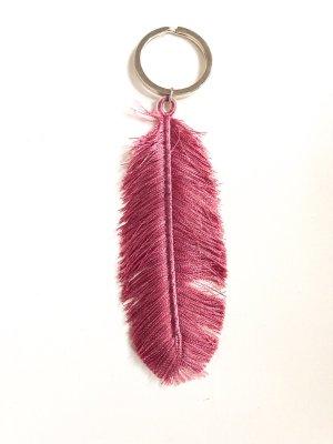 Schlüsselanhänger Feder rosalila