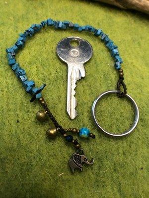 Schlüsselanhänger Halbedelsteine Türkise Mureno Glas Perle Glöckchen Mini Elefant 21cm