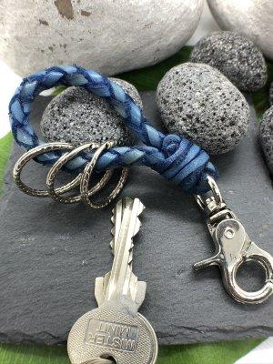 Schlüsselanhänger Leder blau geflochten Karabinerhaken 11 cm Länge