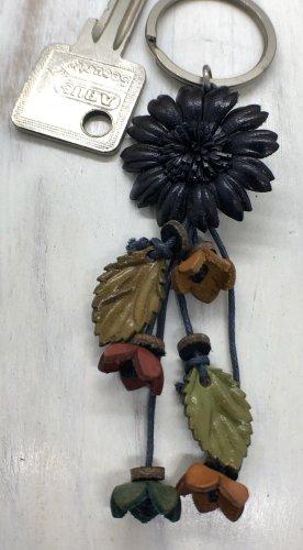 Schlüsselanhänger Leder Blüte 3cm dunkelblau 12 cm Länge