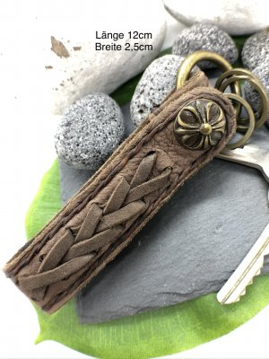 Handmade Key Chain grey brown-gold-colored leather