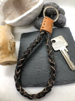 Handmade Key Chain dark brown-light brown leather
