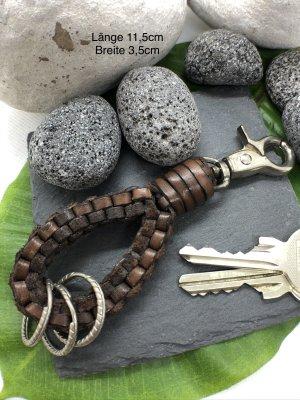 Schlüsselanhänger Leder dunkelbraun geflochten Karabinerhaken 11,5x3,5 cm