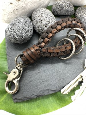 Handmade Key Chain dark brown-silver-colored leather
