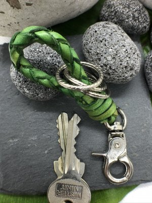 Handmade Key Chain meadow green-silver-colored leather
