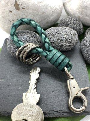 Handmade Porte-clés bleu cadet cuir