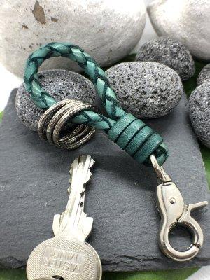 Schlüsselanhänger Leder geflochten petrol Karabinerhaken 11 cm Länge