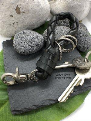 Schlüsselanhänger Leder geflochten schwarz 13 cm Karabinerhaken