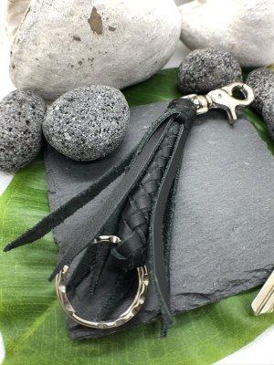 Schlüsselanhänger Leder geflochten schwarz 14 cm Länge Karabinerhaken