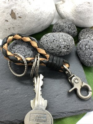 Handmade Key Chain black-sand brown leather