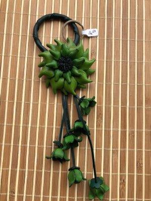 Sleutelhanger groen Leer