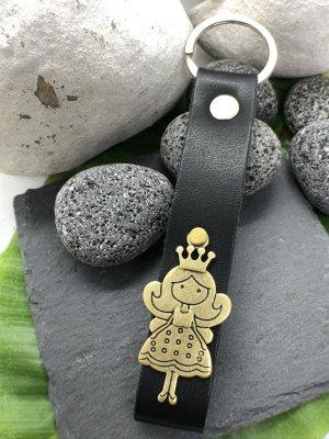 Schlüsselanhänger Leder messingfarbene Prinzessin 13x2,9 cm