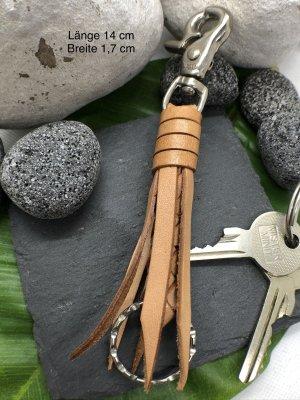 Schlüsselanhänger Leder naturfarben geflochten Karabinerhaken 14 cm Länge