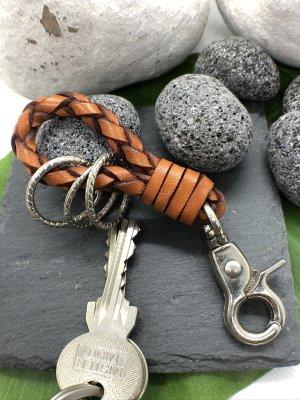 Handmade Porte-clés rouille-argenté cuir