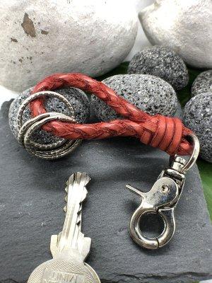 Schlüsselanhänger Leder rot geflochten Karabinerhaken 11 cm Länge