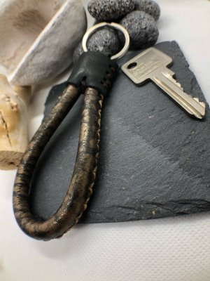 Handmade Key Chain multicolored leather