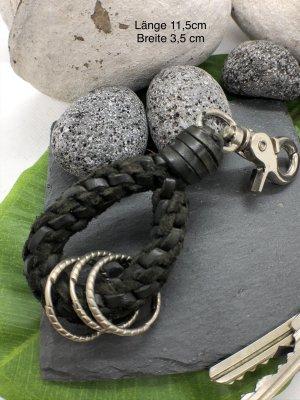 Handmade Portachiavi nero-argento Pelle