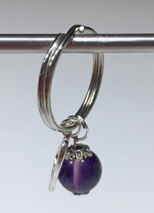 no name Key Chain silver-colored-blue violet mixture fibre