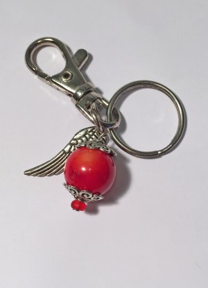 no name Key Chain neon red-silver-colored metal