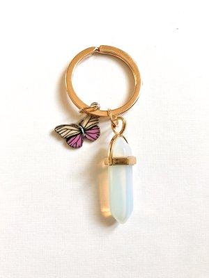 Schlüsselanhänger Mondstein & Schmetterling