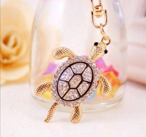 Schlüsselanhänger Schildkröte Turtle golden, Strass, NEU