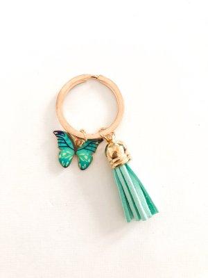 Schlüsselanhänger Schmetterling & Quasten türkis