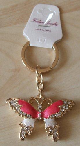 Porte-clés doré-rouge fluo