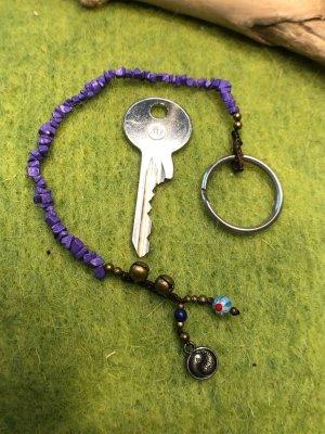 Schlüsselanhänger Steine blauviolett Glöckchen Mini Ying Yang Anhänger Mureno Glas
