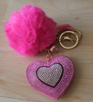 Schlüsselanhänger/Taschenanhänger Herz mit Strass + Puschel