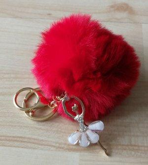Schlüsselanhänger/Taschenanhänger mit Puschel und Mädchen - Strass