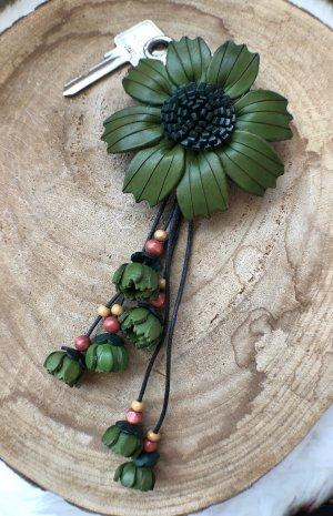 Handmade Key Chain forest green-dark green leather