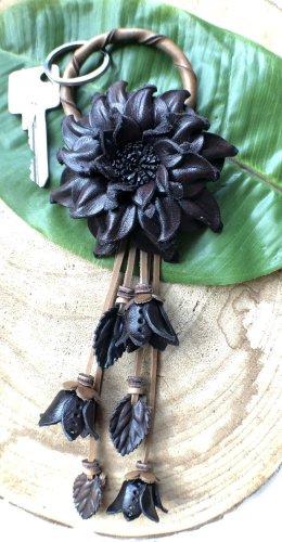 Handmade Key Chain dark brown-light brown leather