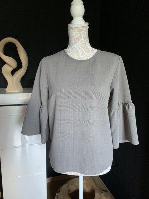 Schlupf-Bluse in Karomuster mit Trompetenärmeln, Größe M