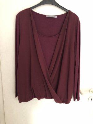 Schlupf-Bluse mehrlagig in weinrot der Marke Ashley Brooke
