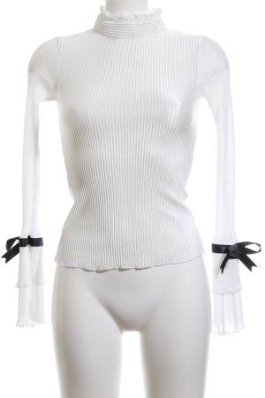Schlupf-Bluse weiß-schwarz Streifenmuster Casual-Look