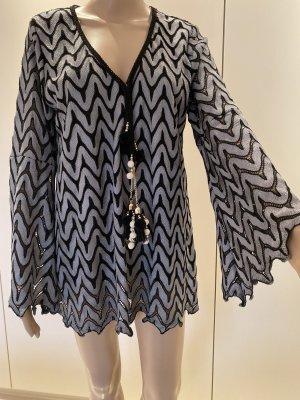 Slip-over blouse zwart-grijs