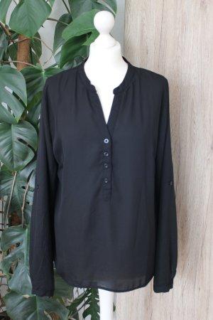 Schlupfbluse Schwarz Bluse langärmlig M-L