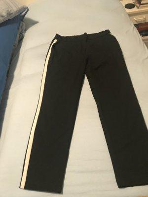 Schlupfhose Stretch schwarz Bein unten etwas enger mit weißen Seitenstreifen (More & More) Grösse 44 – selten getragen!