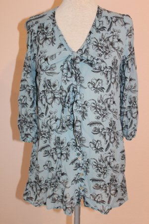 Schluppen-Bluse blau Langarm Federn schwarz UK 8 EUR 36 D34  Sommerbluse